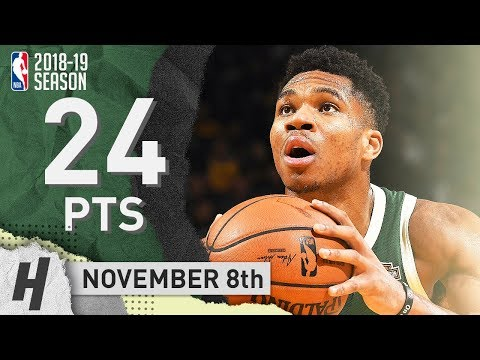 Giannis Antetokounmpo Full Highlights Bucks vs Warriors 2018.11.08 - 24 Pts, 9 Reb in 3 Qtrs!