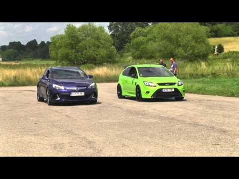 ford focus rs vs opel astra opc drag, drift, sprint