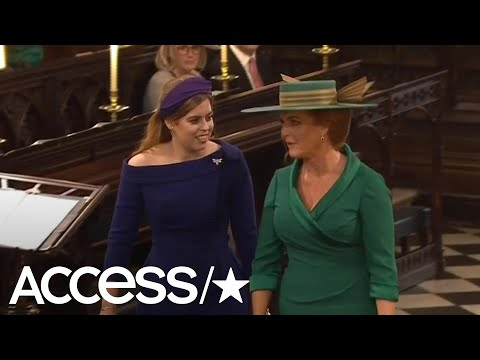 Princess Beatrice & Sarah Ferguson Look Radiant As They Arrive At Princess Eugenie's Wedding