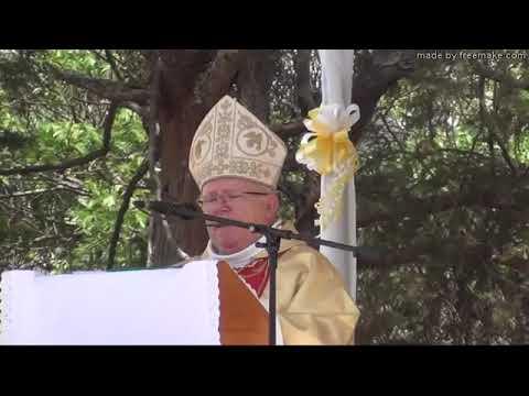 Kabgayi, 07-10-2017: S.Em. Cardinal Jean-Pierre Ricard, Archevêque de Bordeaux (France) s'adresse à l'assemblée des fidèles