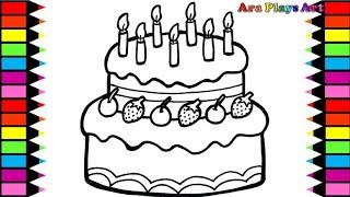 Menggambar Dan Mewarnai Kue Ulang Tahun Warna Warni Untuk Anak | Birthday Cake Coloring Page
