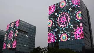 LED Media Facade, LED Mesh, LED Curtain, LED grid, LED screen, transparent LED display youtube video