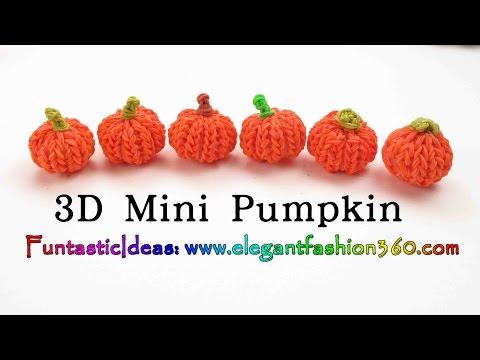Rainbow Loom Pumpkin 3D mini Charms – Halloween-How to loom bands tutorial