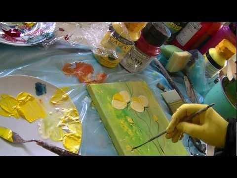 Acrylmalerei Blüten spachteln für Anfänger  acrylic spackling flowers for beginners