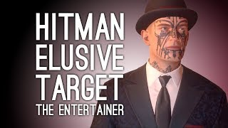 """Hitman's final Elusive Target is The Entertainer: a tattoo-faced wrong 'un by the name of Mr Giggles. See Jane and Andy have a crack at this final target, who turns out to be the most elusive of all, and subscribe for regular Hitman videos from Outside Xbox, why not: http://www.tinyurl.com/SubToOxboxThe final Hitman Elusive Target mission takes place at night in Marrakech, Morocco, on the level dubbed House Made of Sand. The target is the proprietor and apparent entertainments manager of the """"Soiree Horrible"""" or """"horrible party"""", at which people watch giant pandas eat each other, among other horrible things. Fulfilling the contract means murdering Mr Giggles and locating the PDA that contains the Soiree Horrible's guest list. The PDA, we're informed, is carried by Mr Giggle's assistant. With a rooftop meeting and increased security making Mr Giggles less accessible than Finnegan's Wake, can Jane and/or Andy pull off one last job as Agent 47? See the Hitman playlist for all the Hitman gameplay: https://www.youtube.com/playlist?list=PL_WcVABbXAhCCavvVIhwu5Fl2PKiXPWwPPreviously on Outside Xbox, more Hitman Elusive Targets:Hitman Elusive Target: The Gunrunnerhttps://youtu.be/t0M_RJNnomUHitman: Gary Busey The Wild Cardhttps://youtu.be/Im3-sJ0eKykHitman Elusive Target: Black Hathttps://youtu.be/yduF5CqVe7AHitman Elusive Target: The Pharmacisthttps://youtu.be/D5nZA2CT6z4Hitman Elusive Target: The Fixerhttps://youtu.be/KPDwHq340GoHitman Elusive Target: The Forgerhttps://youtu.be/bj0nULtnap8Hitman Elusive Target: The Congressman https://youtu.be/w2o3CooTMYAHitman Elusive Target: The Princehttps://youtu.be/iySt2LhoneUHitman Elusive Target: The Twinhttps://youtu.be/1t11AQ4qwuUHitman Elusive Target: The Ex-Dictatorhttps://youtu.be/sw_GKiWqZAAHitman Elusive Target: The Chefhttps://youtu.be/tN5QgSyz6lsHitman Elusive Target: The Chameleonhttps://youtu.be/iB1x_A2iHkEHitman Elusive Target: The Warlordhttps://youtu.be/xSwgoY2AGhsHitman Elusive Target: The Surgeonshttps://youtu.be/jR4"""