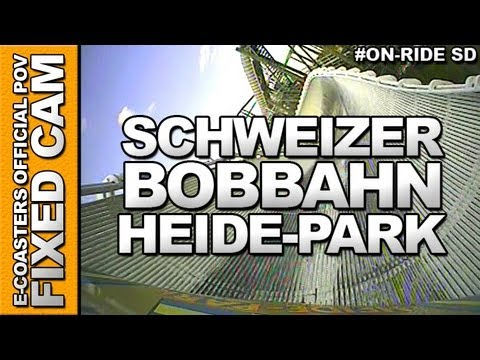 Bobsleje On-Board Video of the rollercoaster 'SCHWEIZER BOBBAHN' to the Amusement Park 'Heide-Park' (Soltau, Germany).