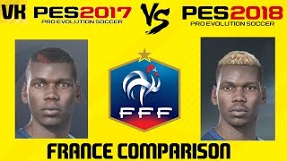 Here is a video comparing French player faces between PES 2017 and PES 2018 Welcome to the #1 Place for Player Faces on Youtube! Subscribe for FIFA 18 and PES 2018 news and player faces videos: 🔴  Subscribe to the channel here: https://goo.gl/AaHRHe .✅  Join the Vapex Club for exclusive newsletters and 2 Private videos (FIFA 18 player face suggestions and PES 2017 Mods): http://eepurl.com/cO1skn✅  Help keep this channel going!https://www.patreon.com/VapexKarma---------------------------------------------------------Available September 29, 2017. FIFA 18 is fueled by Cristiano Ronaldo, all-time top scorer of Real Madrid C.F. and winner of the Best FIFA Men's Player Award.Pre-Order the Ronaldo Edition and get 3 Days Early Access: http://smarturl.it/qoctk5Powered by Frostbite, FIFA 18 blurs the line between the virtual and real worlds, bringing to life the heroes, teams, and atmospheres of the world's game. --------------------------------------------------------PES 18 (PES 2018) is scheduled to be released on the 14th of September.Pre-order now to receive exclusive content:• 2x Premium Partner Agents for myClub• UCL Agent for myClub• Exclusive Agent for myClubYou will also receive bonus myClub content:• 4x Start Up Agents• 1x Partner Club Agent• 10,000 GP x 10 weeksPES 2018 new features:• Gameplay Masterclass – Strategic Dribbling, Real Touch+ and new set pieces take the unrivalled gameplay to the next level• Presentation Overhaul – New menus and real player images• PES League Integration – Compete with PES League in new modes including myClub• Online Co-op -A mode dedicated to co-op play is newly added• Random Selection Match – Fan favourite returns with new presentation and features• Master League Upgrade – New pre-season tournaments, improved transfer system, presentations and functionality • Enhanced Visual Reality – New lighting, reworked player models and animations covering everything from facial expressions to body movement to bring the game to life----------------------------------------------------------► Subscribe to my Other Channel https://www.youtube.com/channel/UC-OlFXbaW43YlKqfVy1Tp6g►2nd Channel featuring non player faces content (uploads occasionally): https://www.youtube.com/channel/UCjXed8aFG8cxnYm0iNQraWg?tbft=1►If you would like to Donate (just like Twitch) to support my content :  https://streamtip.com/y/vapexkarma--------------------------------------------------------► Twitter: @vapexkarma ► Facebook: @vapexkarma► Instagram: @vapexkarma► Podcast: anchor.fm/vapexkarma----------------------------------------------------------► My Best videos: https://www.youtube.com/playlist?list=PLeVkMvUsXzoEdcbKCQIIUxwTNvppKYBQo► PES 2017: Inter Milan Master League: https://www.youtube.com/playlist?list=PLeVkMvUsXzoHZBuaHdW8ieM1ROA3xD6p9► FIFA 17 vs PES 17 Player Face Comparisons: https://www.youtube.com/playlist?list=PLeVkMvUsXzoFjICBaqUzkwoDYbuLribm4----------------------------------------------------------FIFA 17 is a sports video game made by EA Sports released on the 27th of September 2016 in America and 29th September 2016 worldwide. It uses the Frostbite engine and Marco Reus is the official cover star. Available on PS4, PS3, Xbox One s, Xbox one, Xbox 360 and PC.----------------------------------------------------------Pro Evolution Soccer or PES 2017 (also known as Winning Eleven 2017 in asia) is a sports video game made by Konami for Microsoft Windows, PlayStation 3, PlayStation 4, Xbox 360 and Xbox One. The game is the 16th installment in the Pro Evolution Soccer series. It was released in September 2016 and will be compatible with PS4 Pro console. Partner clubs include Barcelona, Liverpool, Borussia Dortmund and River Plate which means they have the official stadiums and kits as well as player names.Features include improved passing, Real Touch ball control, and improved goal tending technique. The cover of the game has Neymar, Messi, Suárez, Rakitić and Piqué.Game features include adaptive AI, edit and data sharing (through option files) and Match analysis.----------------------------------------------------------------------------------Production Music courtesy of Epidemic Sound: http://www.epidemicsound.com----------------------------------------------------------------------------------#PES2018 #FIFA18 #vapexkarma #playerfaces #PES2017 #FIFA17