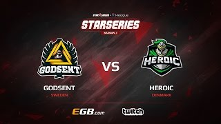 GODSENT vs Heroic, map 1 mirage, SL i-League StarSeries Season 3 Europe Qualifier