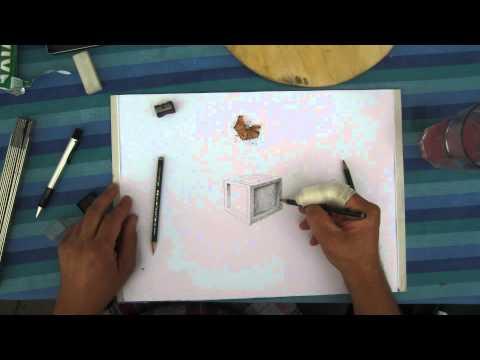 Einen Würfel zeichnen mit Bleistift
