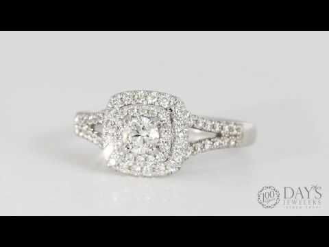 Forevermark Double Halo Diamond Engagement Ring in 18kt White Gold (1/2ct tw)