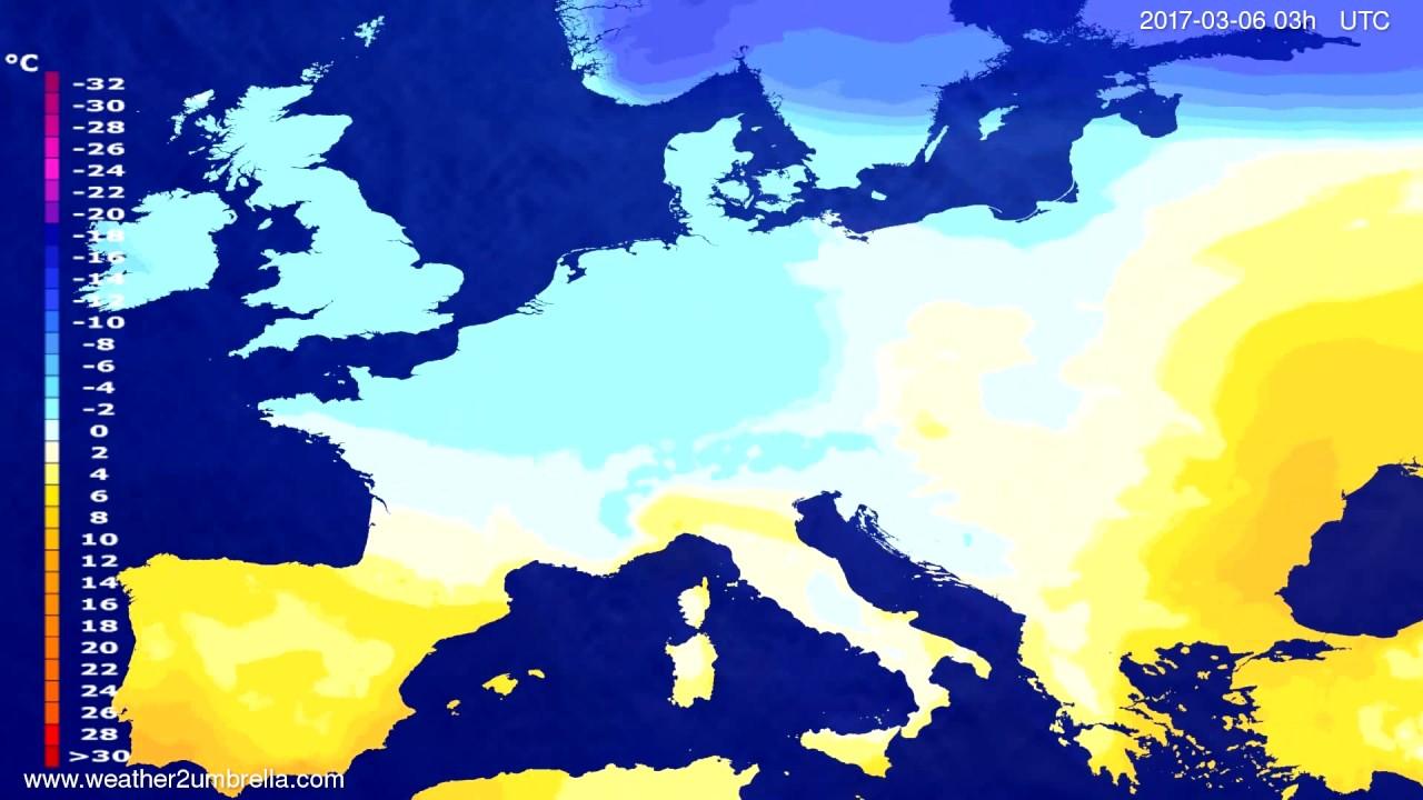 Temperature forecast Europe 2017-03-03
