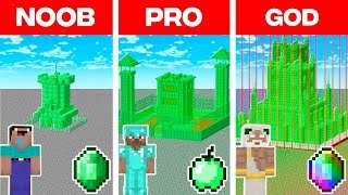 Minecraft NOOB vs. PRO vs. GOD: MOST SECURE EMERALD BASE BUILD CHALLENGE in Minecraft! (Animation)