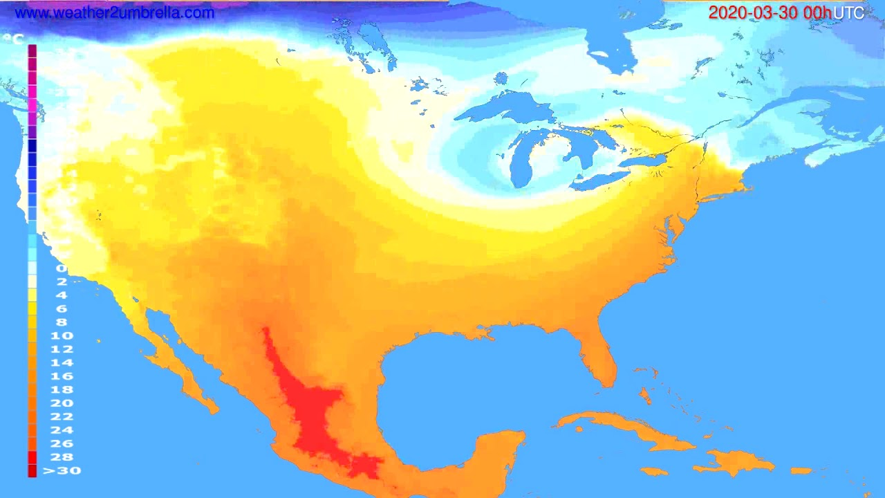 Temperature forecast USA & Canada // modelrun: 00h UTC 2020-03-29