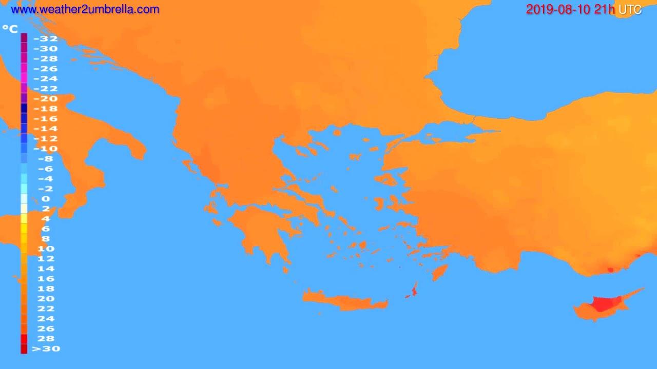 Temperature forecast Greece // modelrun: 00h UTC 2019-08-09