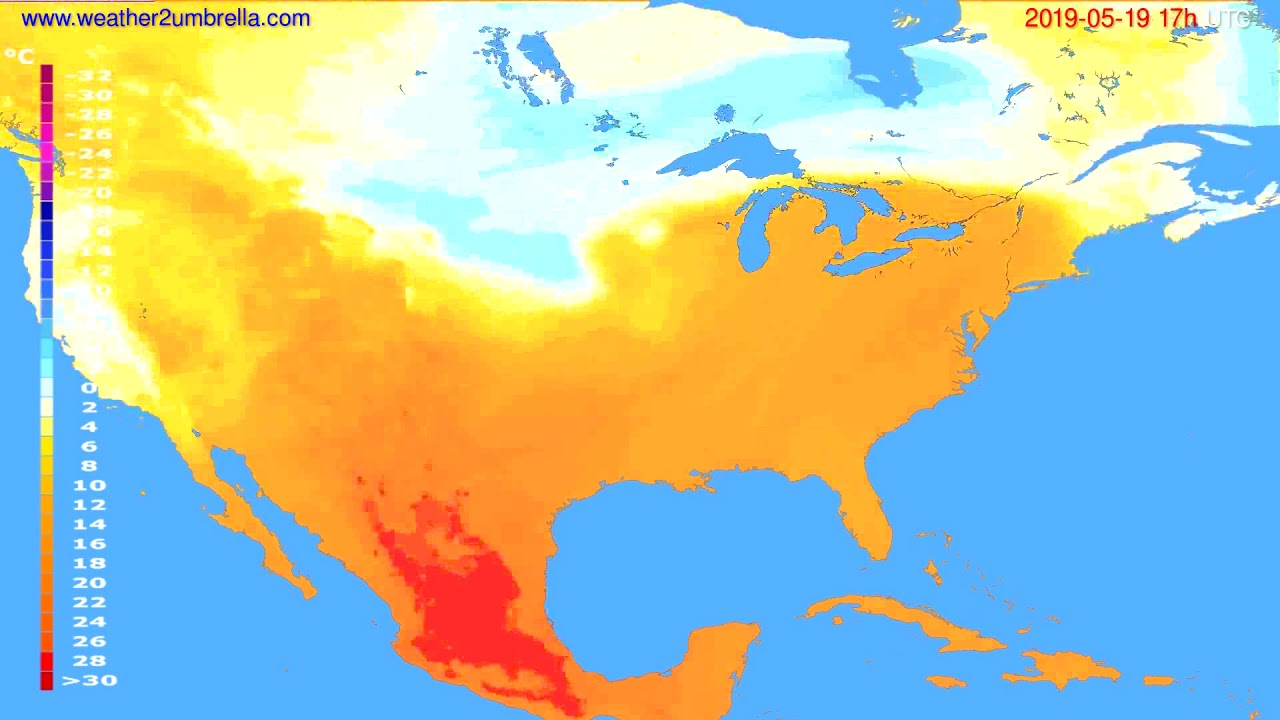 Temperature forecast USA & Canada // modelrun: 00h UTC 2019-05-18