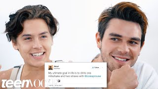 'Riverdale' stars Cole Sprouse and KJ Apa sit down to a romantic dinner and read beautiful, positive tweets to each other.
