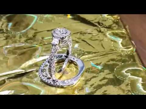 Three stone round halo wedding set with band