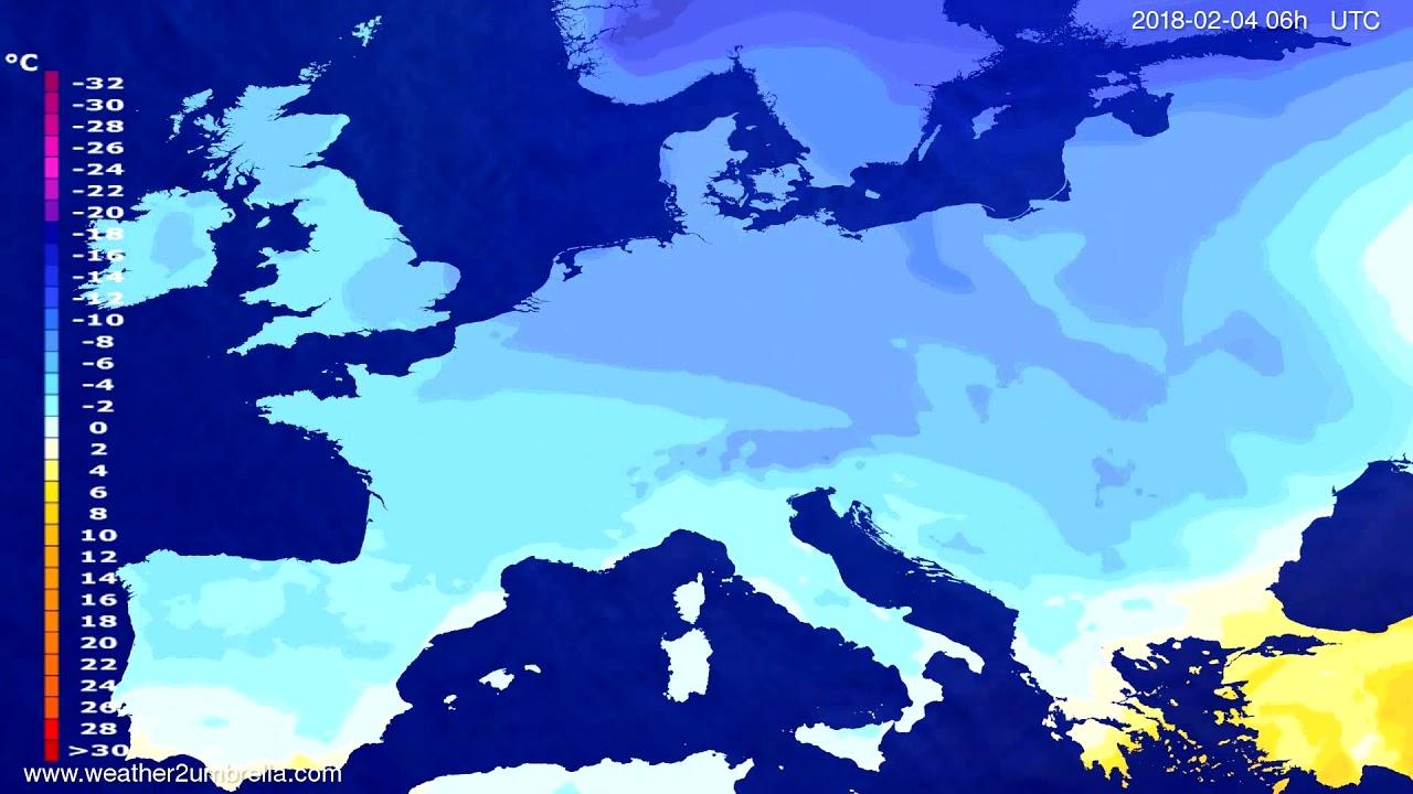 Temperature forecast Europe 2018-01-31
