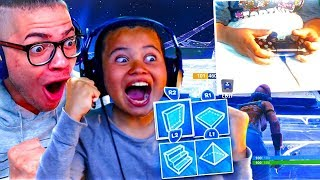 MY LITTLE BROTHER FINALLY PLAYS ON HANDCAM ON BUILDER PRO!!! FORTNITE BATTLE ROYALE INTENSE GAME!