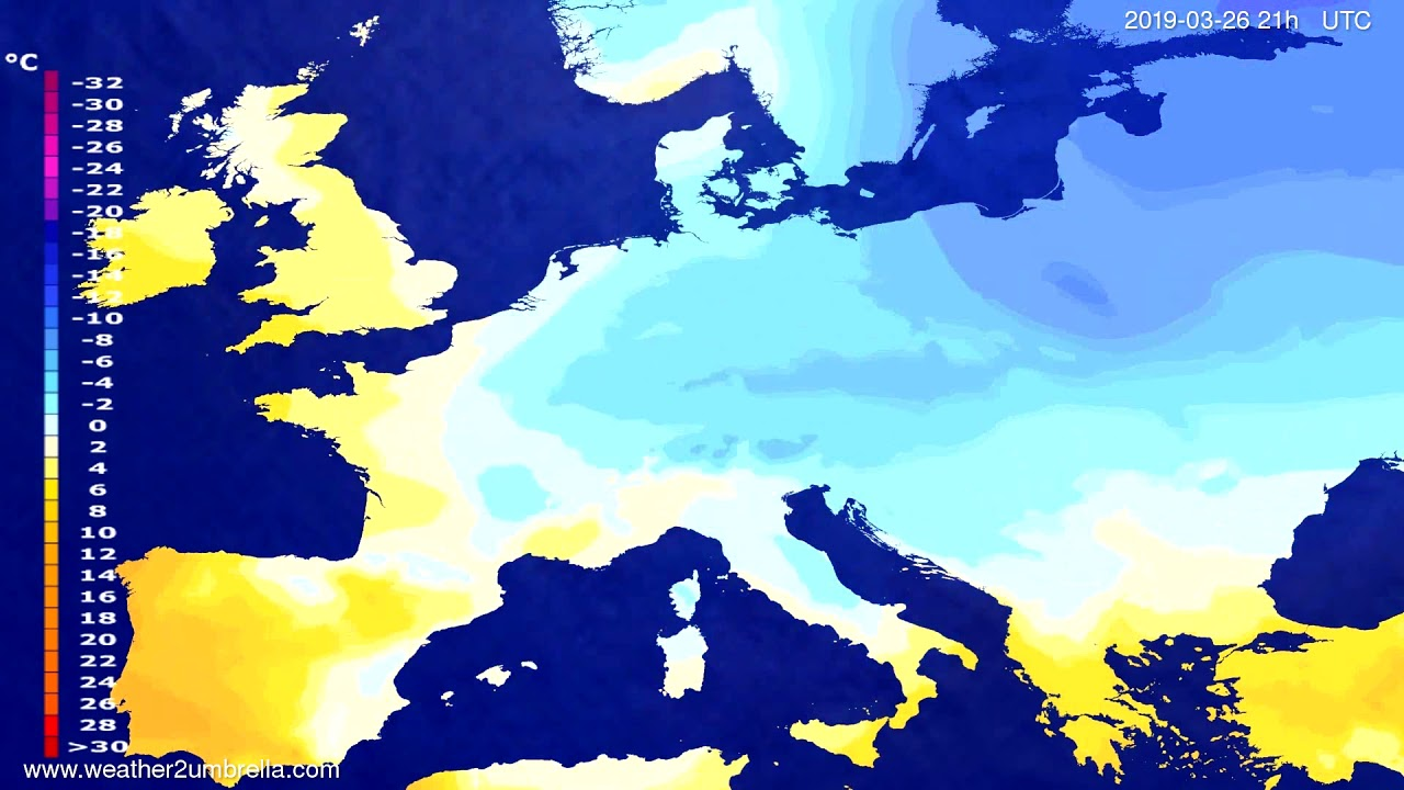 #Weather_Forecast// Temperature forecast Europe 2019-03-25