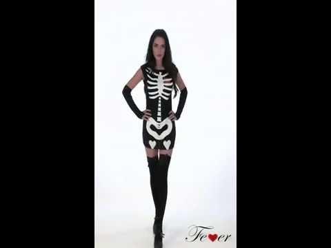 Déguisement robe femme squelette