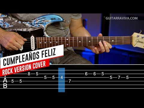 Cumpleaños Feliz en guitarra eléctrica COVER con TABS y MP3 GRATIS