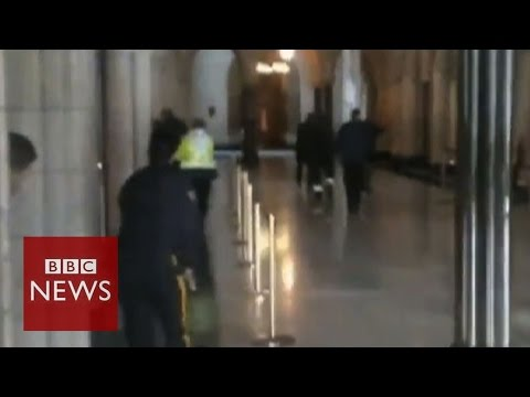 Shows - Footage from the Toronto Globe and Mail shows bullets being fired inside the Canadian parliament building, in Ottawa. Witnesses earlier reported seeing a gunman shooting at the Ottawa War...