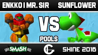 Super close hype set from Smash 64 Pools at SHINE, Mr. Sir (Samus) vs Sunflower (Yoshi)