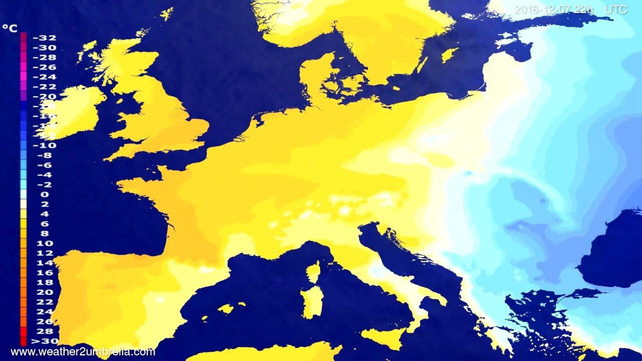 Temperature forecast Europe 2016-12-05