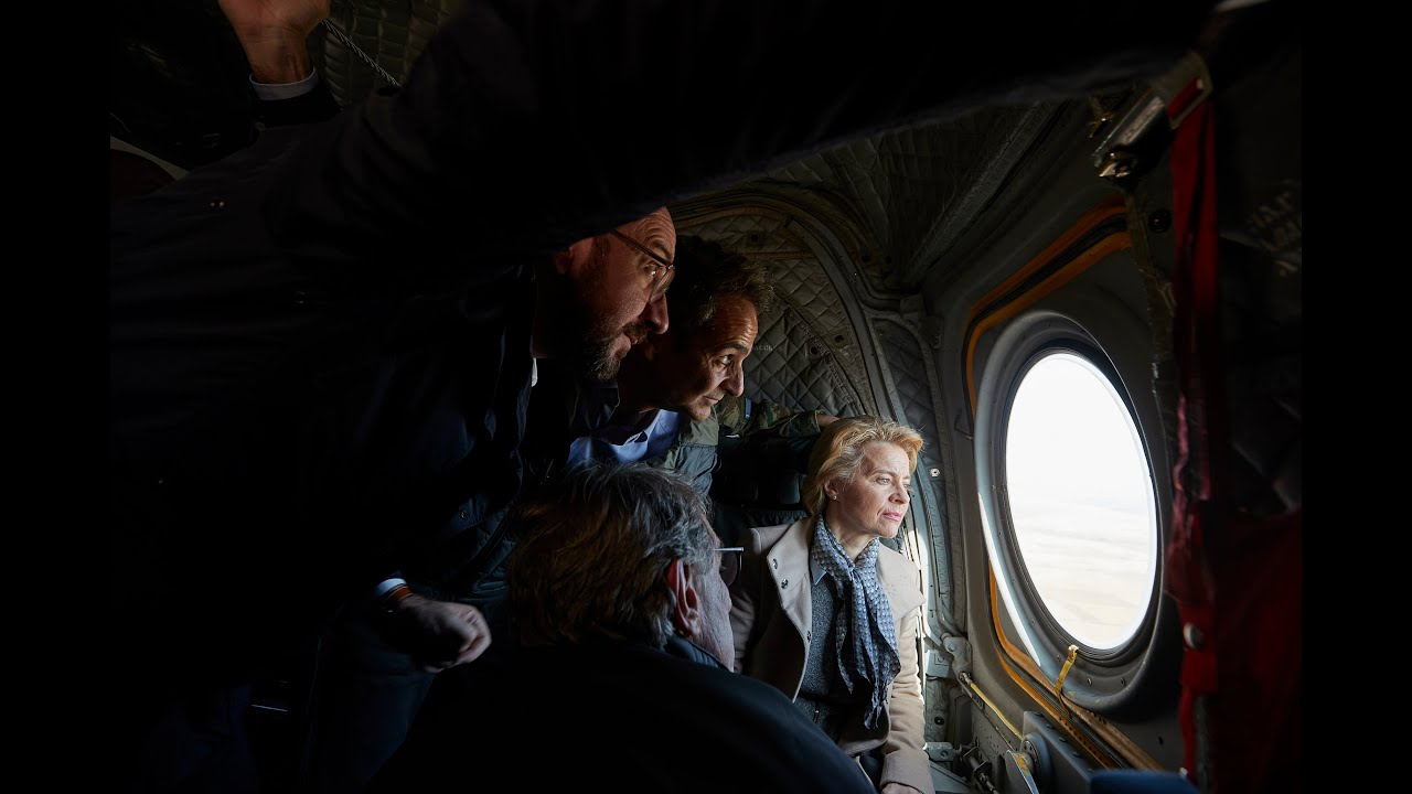 Με ελικόπτερο πάνω από τα χερσαία σύνορα στον Έβρο η ηγεσία της ΕΕ