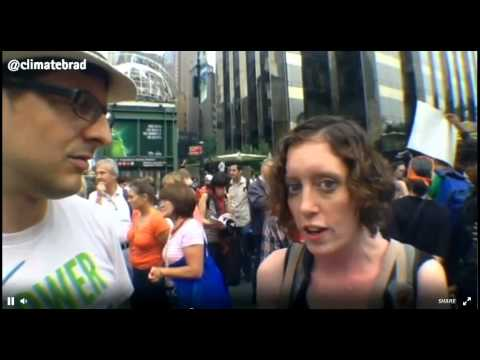 Energy Action Coalition Director Maura Cowley speaks with Brad Johnson at #PeoplesClimate