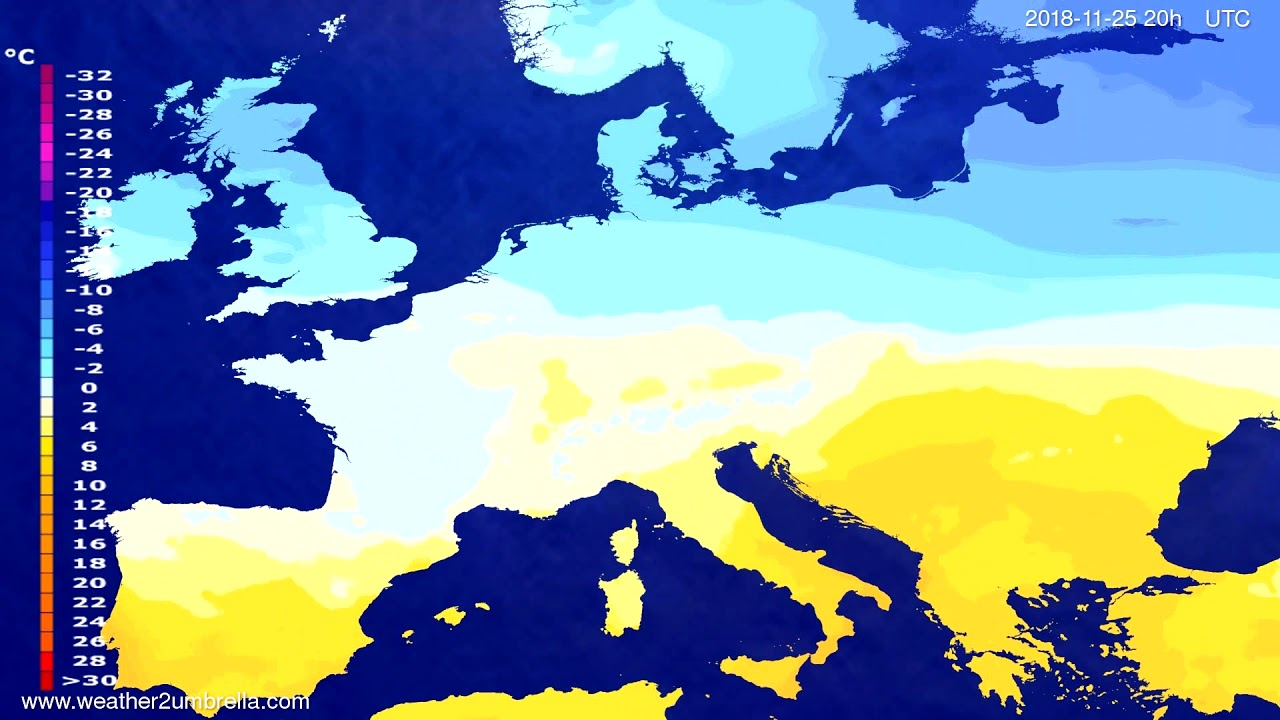 Temperature forecast Europe 2018-11-22