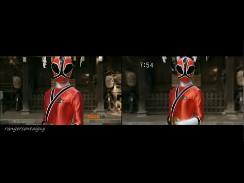 Power Rangers Super Samurai Lauren Shiba First Appearance Split Screen (PR and Sentai version)