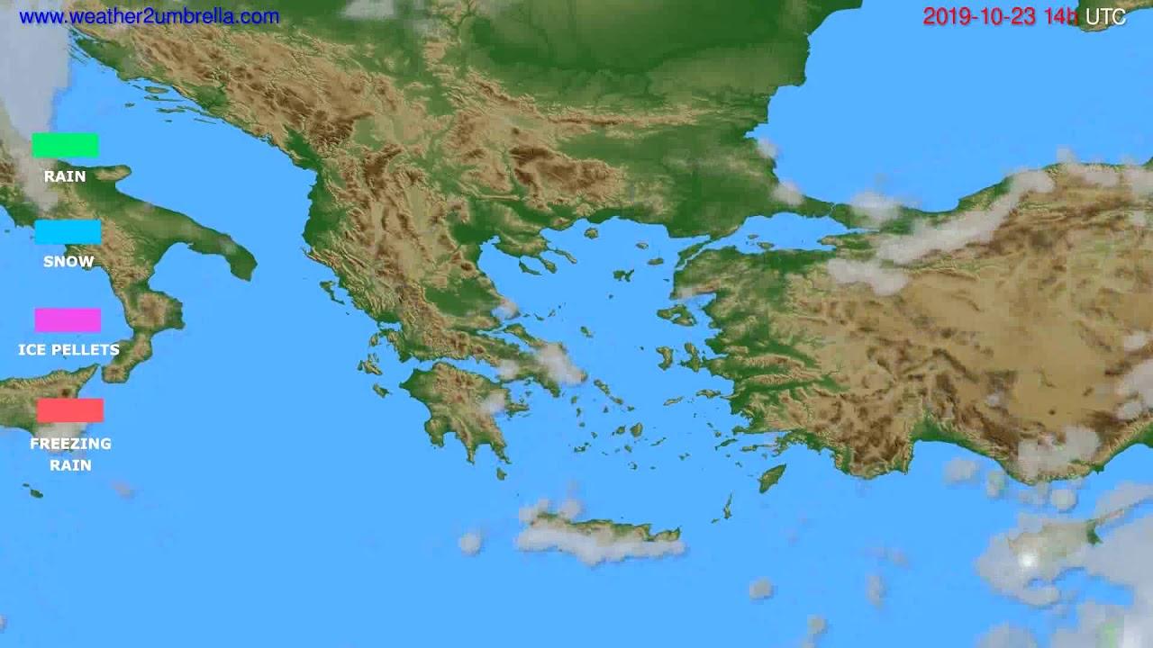 Precipitation forecast Greece // modelrun: 12h UTC 2019-10-21
