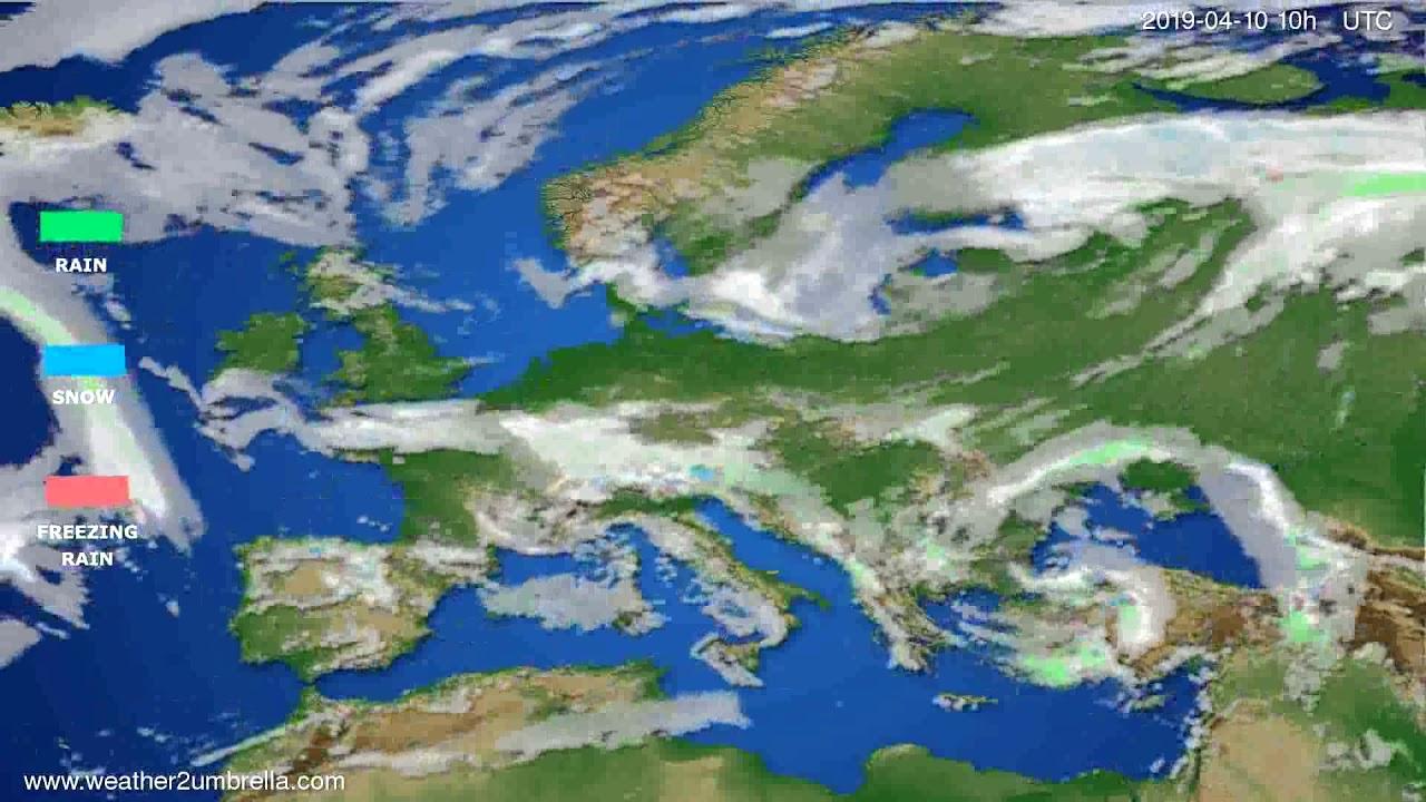 Precipitation forecast Europe // modelrun: 00h UTC 2019-04-08