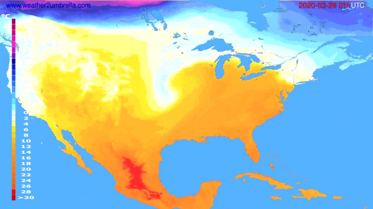 Temperature forecast USA & Canada // modelrun: 12h UTC 2020-03-27