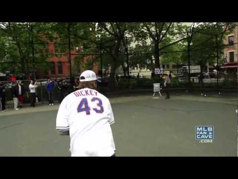 dickey - R.A. Dickey meets up with some backyard hurlers at Tompkins Square Park in NYC.