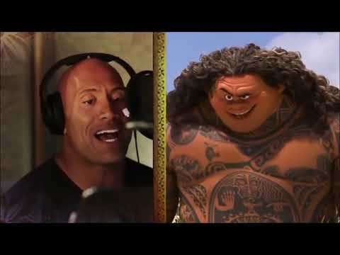 "MOANA:Dwayne ""The Rock"" Johnson (Maui) singing for Moana"