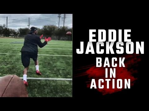 Watch Alabama's Eddie Jackson run drills as he recovers from his college career-ending broken leg