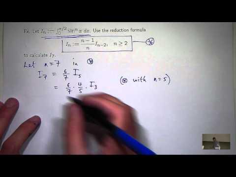 Integrale von trigonometrischen Funktionen und Reduzierung Formeln