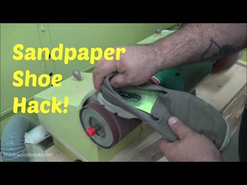How to clean sandpaper using an old shoe