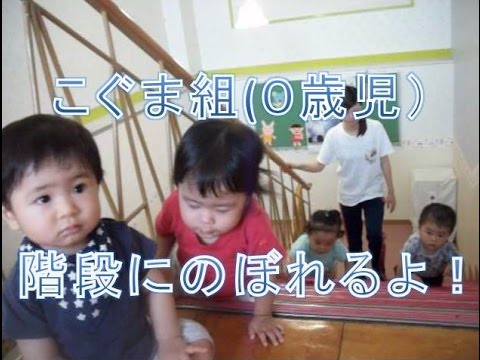 こぐま組(0歳児):階段にのぼれるよ!