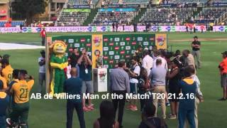 AB de Villiers Man of the Match T20 The Wanderers 21 February 2016