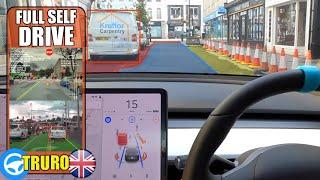 FSD Navigates AROUND Parked Cars onto Oncoming Lane! (SO CLOSE!) | Tesla Autopilot UK City #28 Truro by Pokemon Cards