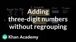 Sal adds 327 + 251 thinking about place value.Watch the next lesson: https://www.khanacademy.org/math/cc-2nd-grade-math/cc-2nd-add-subtract-1000/cc-2nd-sub-ones-tens-hundreds/v/subtracting-hundreds-and-tens?utm_source=YT&utm_medium=Desc&utm_campaign=2ndgradeMissed the previous lesson? https://www.khanacademy.org/math/cc-2nd-grade-math/cc-2nd-add-subtract-1000/cc-2nd-add-ones-tens-hundreds/v/adding-hundreds-tens-and-ones?utm_source=YT&utm_medium=Desc&utm_campaign=2ndgrade2nd grade on Khan Academy: Learn to see three-digit numbers as hundreds, tens, and onesAbout Khan Academy: Khan Academy is a nonprofit with a mission to provide a free, world-class education for anyone, anywhere. We believe learners of all ages should have unlimited access to free educational content they can master at their own pace. We use intelligent software, deep data analytics and intuitive user interfaces to help students and teachers around the world. Our resources cover preschool through early college education, including math, biology, chemistry, physics, economics, finance, history, grammar and more. We offer free personalized SAT test prep in partnership with the test developer, the College Board. Khan Academy has been translated into dozens of languages, and 100 million people use our platform worldwide every year. For more information, visit www.khanacademy.org, join us on Facebook or follow us on Twitter at @khanacademy. And remember, you can learn anything.  For free. For everyone. Forever. #YouCanLearnAnythingSubscribe to Khan Academy's 2nd grade channel: https://www.youtube.com/channel/UCNKAFuuw3dpsiSl9n90zgvw?guided_help_flow=3?sub_confirmation=1Subscribe to Khan Academy: https://www.youtube.com/subscription_center?add_user=khanacademy