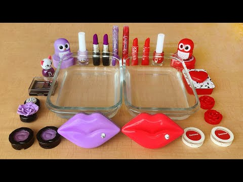 Purple Vs Red | Mixing Makeup Eyeshadow Into Clear Slime | Special Series Satisfying Slime 39