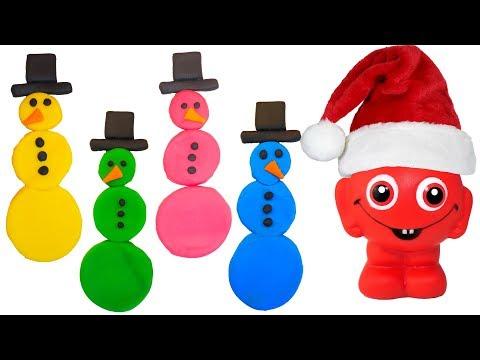 Babblarna gör roliga snögubbar i olika färger i Play Doh & leker med slime - Lek och lär på svenska