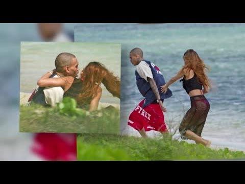 Rihanna Dons Racy Fishnet Skirt For Hawaiian Birthday Stroll With Chris Brown - Splash News