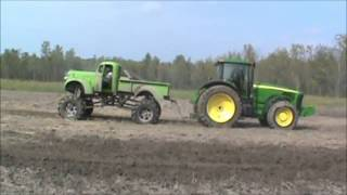 Tug O War 1941 Chevy Mega Mud Truck vs John deere Tractor