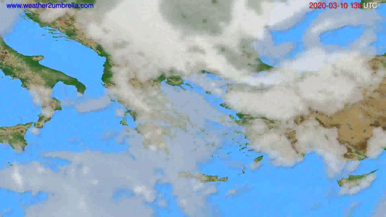 Cloud forecast Greece // modelrun: 12h UTC 2020-03-09